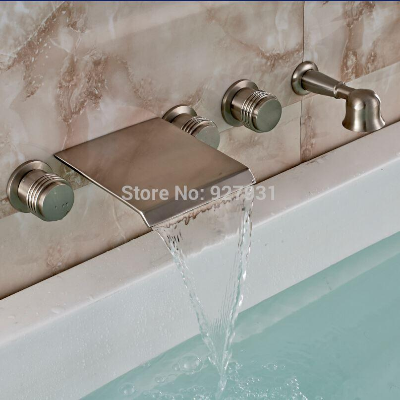 online cheap luxury waterfall spout wall mounted bathtub tub faucet with pull out hand shower brushed nickel finished by alltop dhgatecom