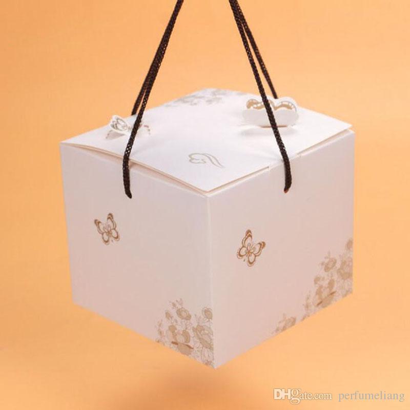3D Schmetterling Kuchen Box Mit Griff Weiß Kraft Design Geschenkboxen Verpackung Lebensmittel Baby Shower Geburtstag Verpackung ZA5366