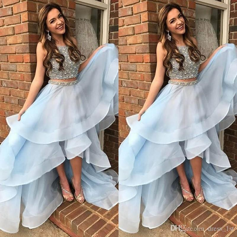 Latest 2018 Light Blue Two Pieces High Low Prom Dresses Long
