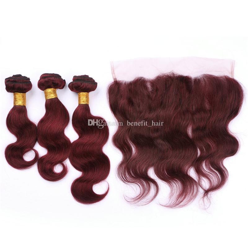 Borgoña 99J pelo humano de la Virgen brasileña 3 paquetes con extensiones de cabello ondulado de la parte frontal del cuerpo del cordón libre con encaje frontal 13x4 superior