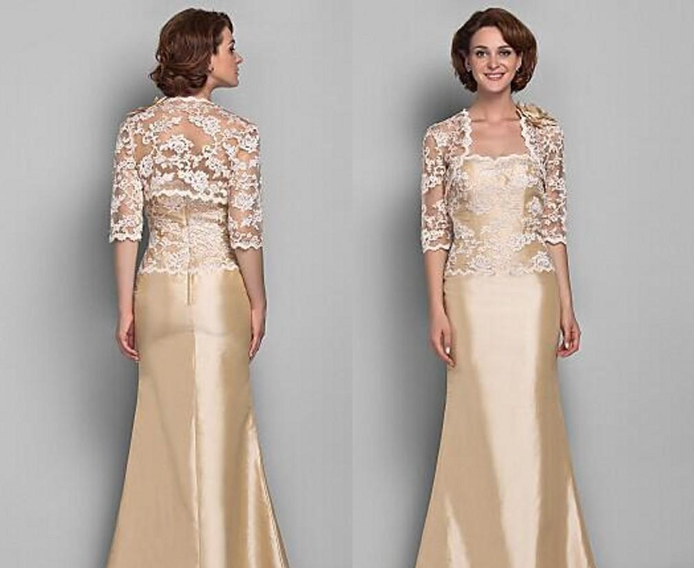 Discount Elegant Champagne Gold Lace Suits Mother Of The