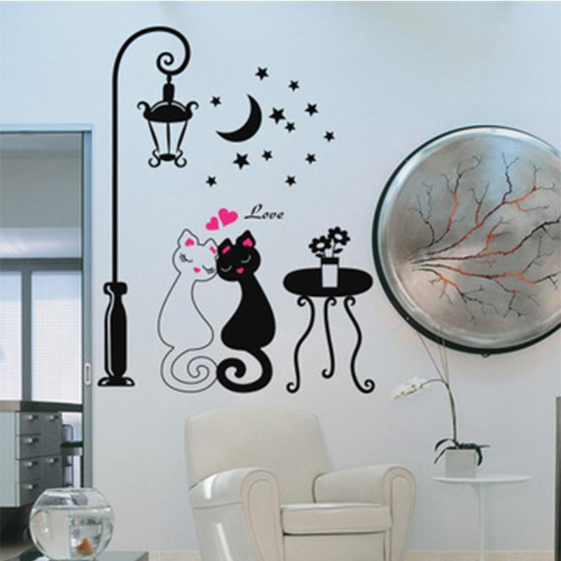 Cartoon Creative Cats Love Street Lamp DIY Removable Wall Stickers Living  Room Kids Bedroom Mural Decal #70490