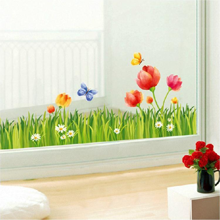 Balcony porch living room baseboard moldings waistline glass window stickers wall stickers sticker flower meadow vinyl wall decals vinyl wall decals kids