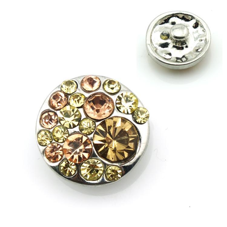 الأزياء 18 ملليمتر المفاجئة أزرار الأصفر حجر الراين المشابك المعدنية صالح سوار diy مجوهرات نوسا زينة شحن مجاني