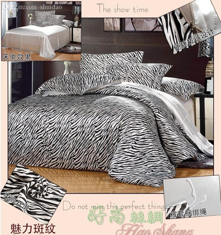 Wholesale Black And White Zebra Print Mulberry Silk Bedding Comforter Set  King Queen Full Twin Size Duvet Cover Bed Sheet Quilt Bedspread Sheet China  ...