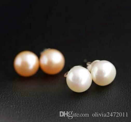 Boucles d'oreilles en perles d'eau douce naturelles 925 Sterling Silver Stud 6mm perle bijoux pour les femmes bijoux de mariage cadeaux MS