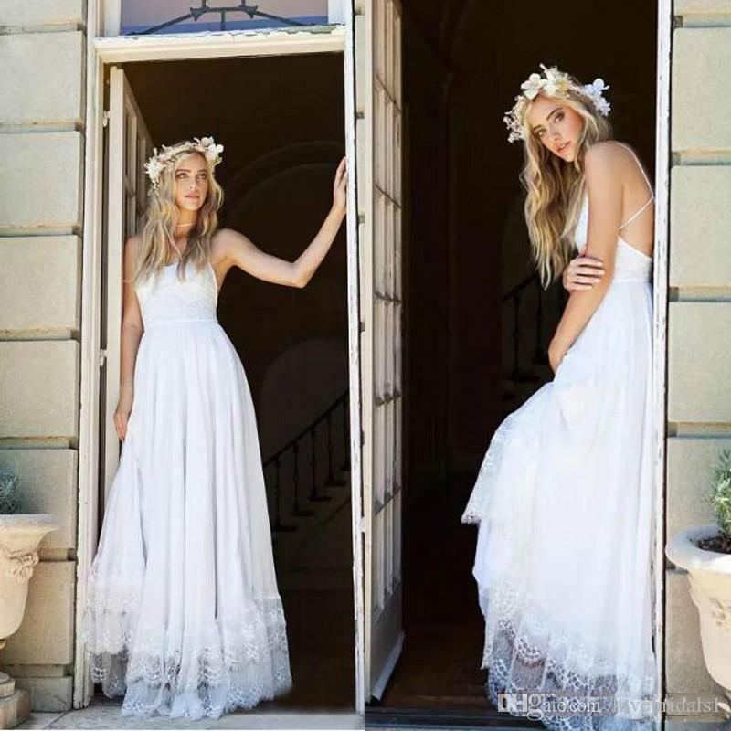 2019 Sexy Spaghetti Criss Cross Back Beach Wedding Dresses Lace Long Country Bohemian Bridal Gowns Custom Made