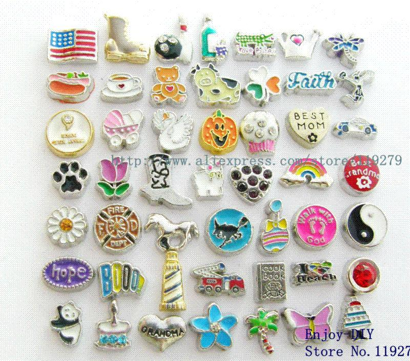 Free shipping 100 pcs Mix color&style floating charms DIY Accessories fit for locket Charms Cheap Charms