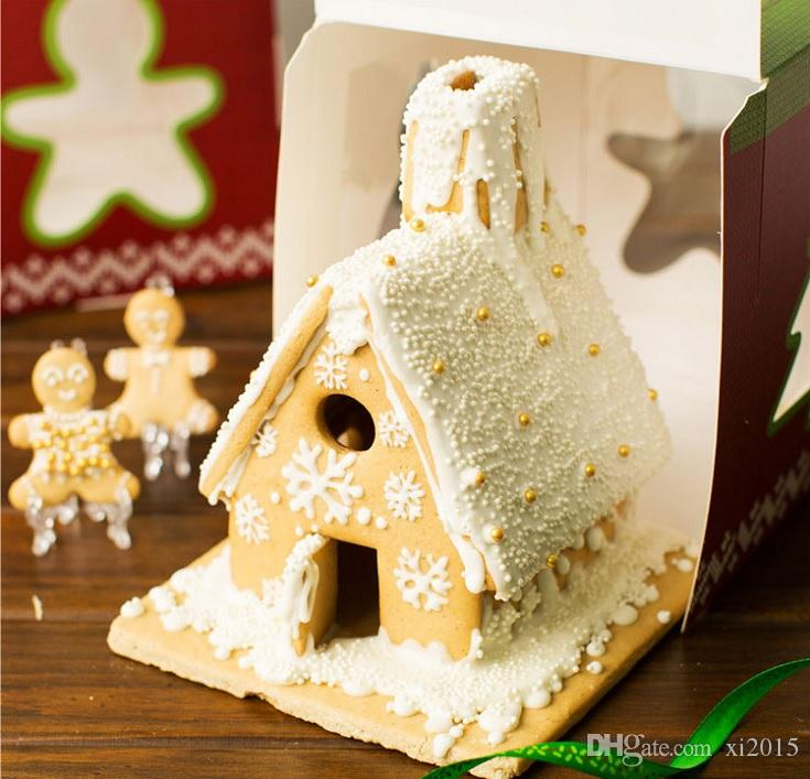 6 inch Christmas House Tree Candy Box Cake Packaging/Cupcake /Gingerbread Holder Kid Children Party decoration