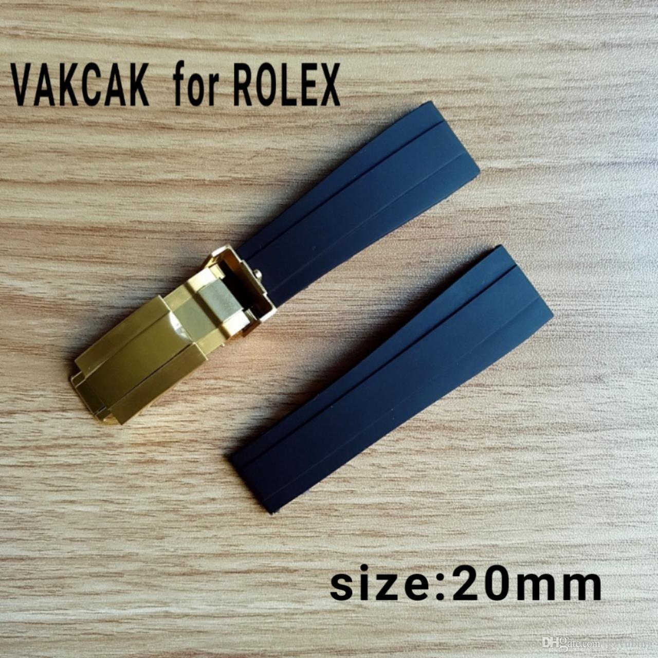 Cinta do tamanho de 20mm apto para ROLEX SUB / GMT / YM novo macio durável acessórios do relógio de banda à prova d 'água com prata fecho de aço original