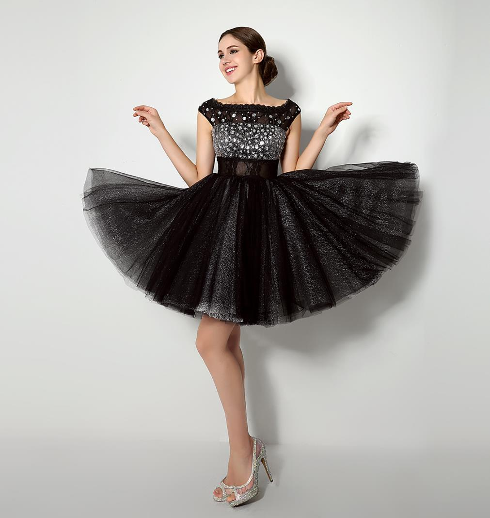 Little Black Cocktail Dress With Cap Sleeves Rhinestones Beaded ...