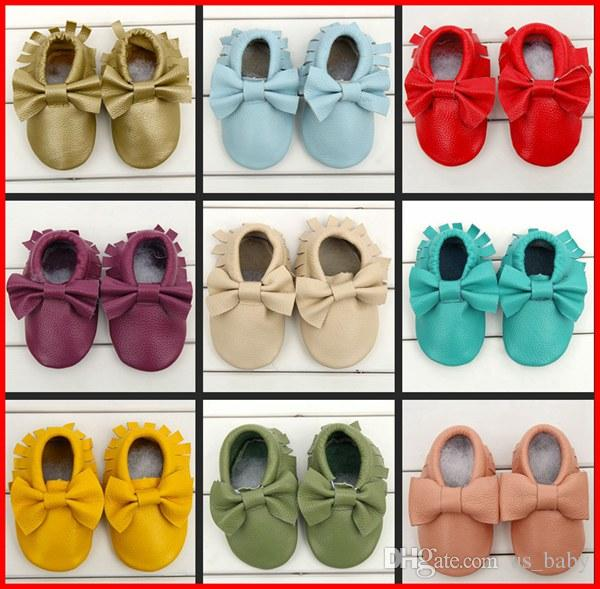 Fedex Baby moccasins girls bows moccs soft sole moccs genuine leather prewalker booties toddlers infants fringe bow cow leather Shoe