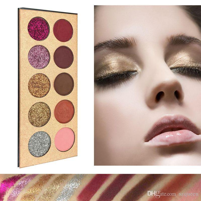 Beleza Glazed Glitz Glam 10 Cores Glitter eyeshadow Lantejoulas Paleta Sombra Highlighter Shimmer Maquiagem Beleza Marca DHL frete grátis
