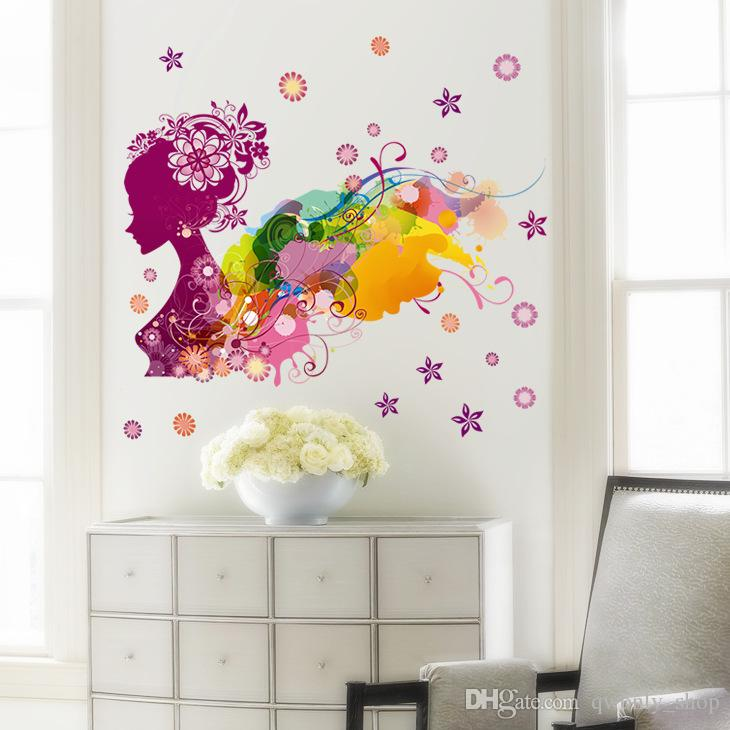 ful Girl Flower Decal Removable Door Room Art Mural Romantic Sexy Lady Forever Flower Wall Sticker