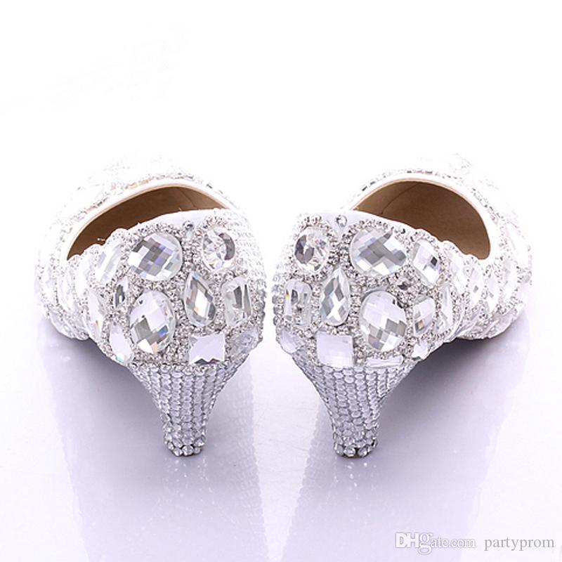 Nuevo Bridesmaid Spring Nuevo Rhinstone Crystal Nupcial Boda Tacón medio Fiesta elegante Zapatos de baile Zapatos de la madre de la novia