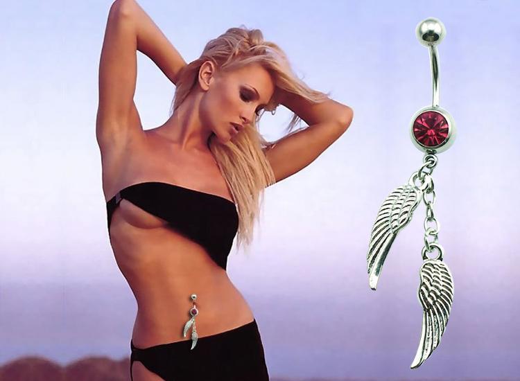 Brand New Fashion Pamavel Pierścionki Dangle Posrebrzane Podwójne Pióro Brzuch Button Pierścionki Body Piercing Biżuteria