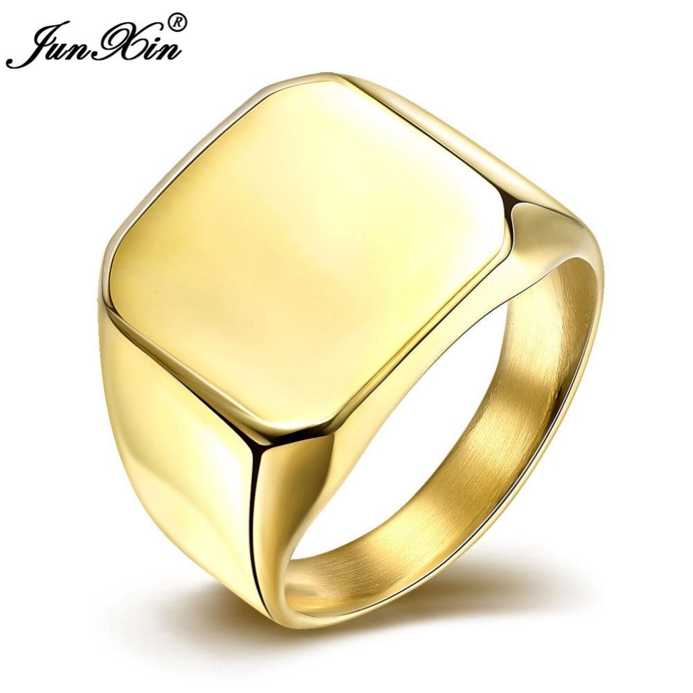 Junxin Silver Gold Fashion Male Stainless Steel Ring Party Wedding