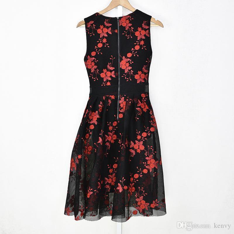 Marque de la mode féminine luxe automne élégante robe florale élégante broderie