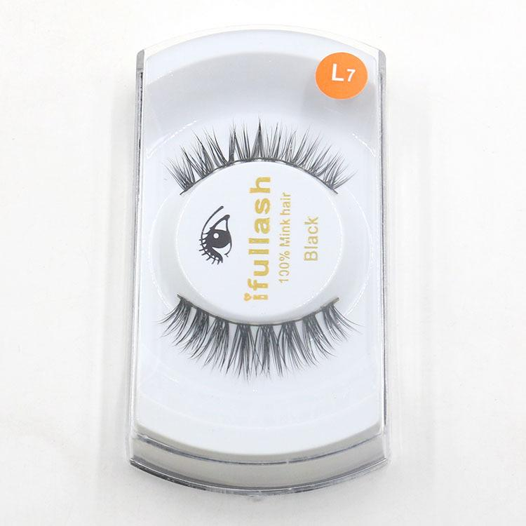 Mink Hair False Eyelashes Handmade Natural Long Thick Mink Fur Eyelashes Makeup Fake Eye Lash extensions Black Full Strip With Package #L7