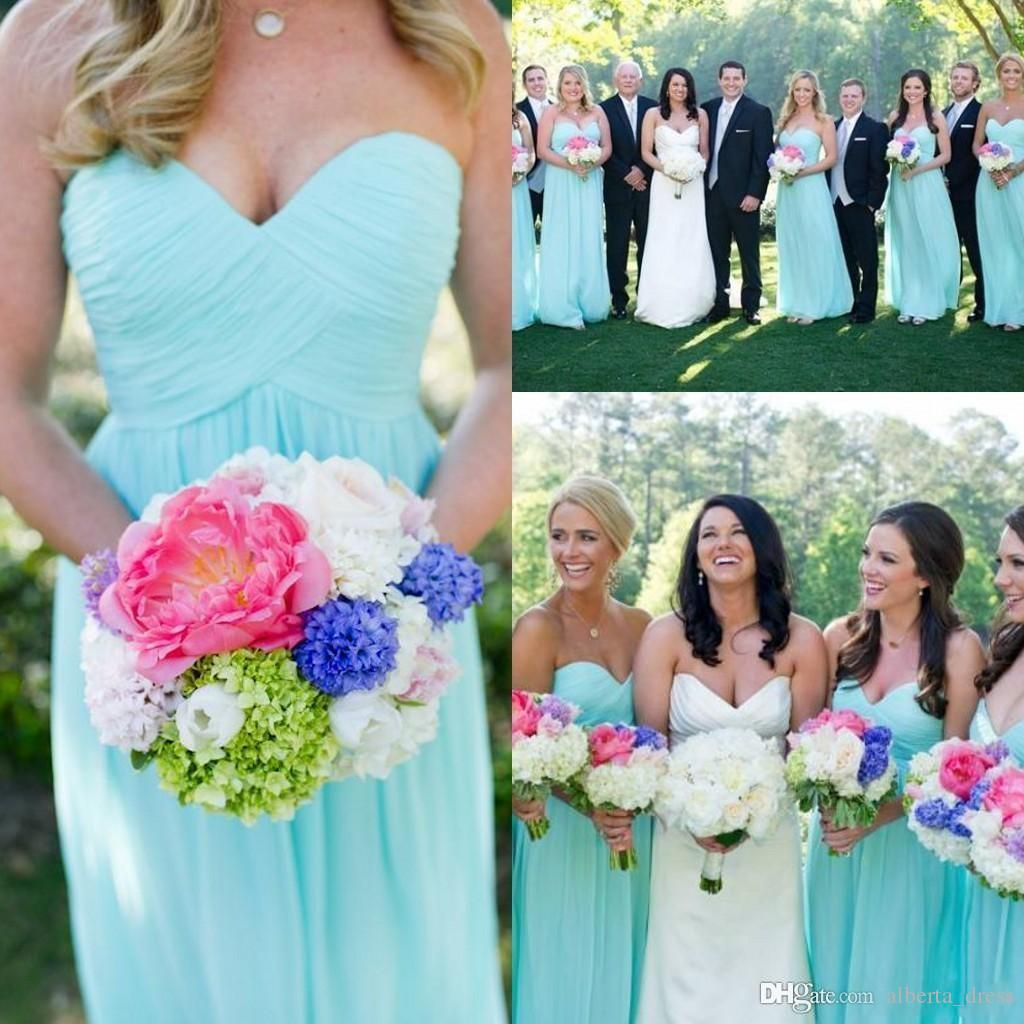 Cheap 2015 Light Blue Bridesmaid Dresses Sweetheart Pleated Chiffon Floor Length Long Column Elegant Prom Gowns Lace up Back Custom Made