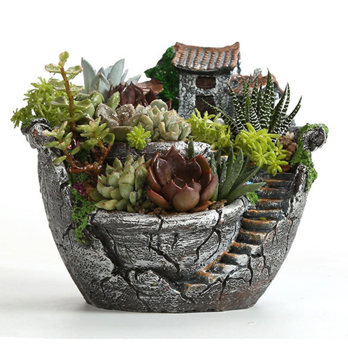 2019 resin garden cactus succulent plant pot herb flower. Black Bedroom Furniture Sets. Home Design Ideas