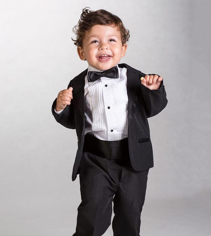 cute toddler suits black tuxedos for kids fashion baby clothing notched lapel infant boys brithday wedding party suitsjacketpantsbow kids clothing stores