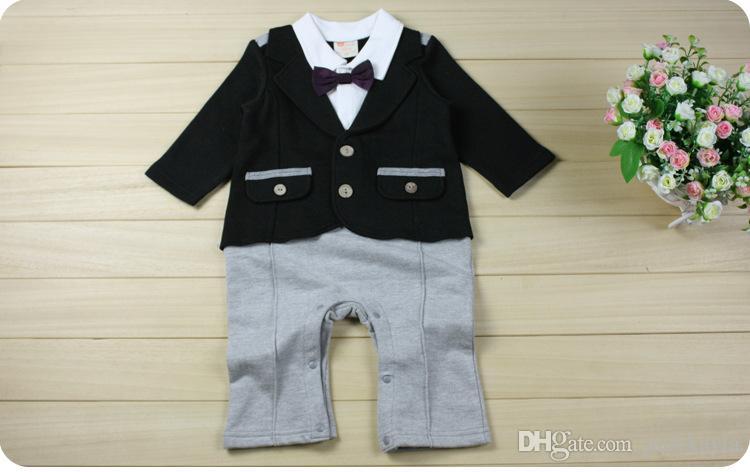 2019 Jesień Baby Romper Boys Gentleman Z Długim Rękawem Pajacyki Dzieci Relaks Modelowanie Wspinaczka Ubrania Dzieci Odzież Dziecko Gr14
