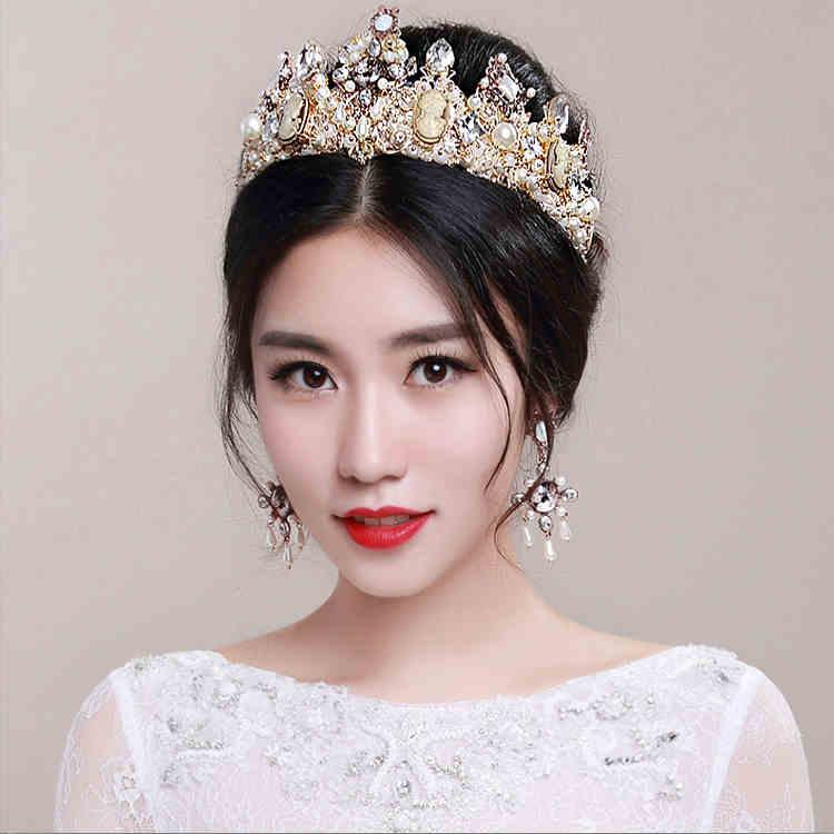 vintage european baroque princess wedding hair accessories crown queen bridal jewelry set two pieces crystal pearls tiarasearrings cheap pearl bridesmaid