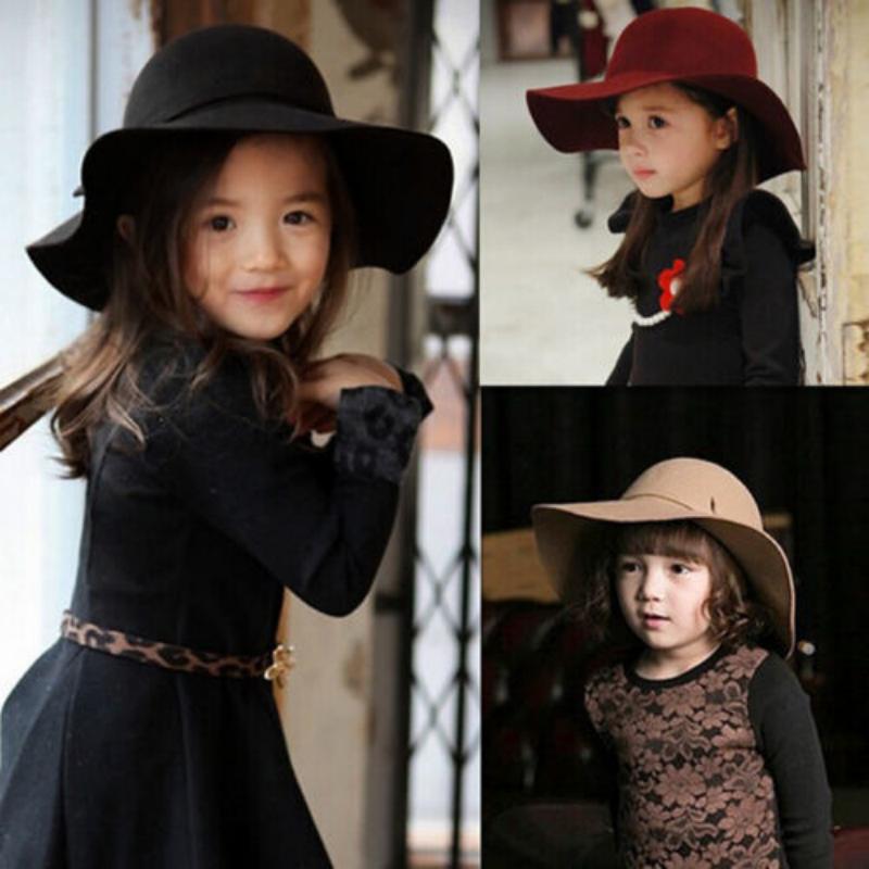 Cute Summer Girl Wool Felt Hats Childrens Vintage Wide Brim Beach ... e585435b2d9