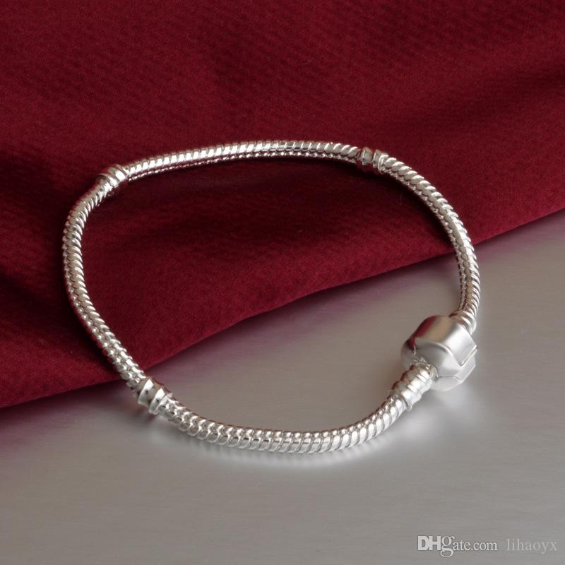 New Fashion Love Snake Chain Silver Color Fit Original Charm Bracelet Bangle Charm Bead For Women Gift 16CM-23CM TO265