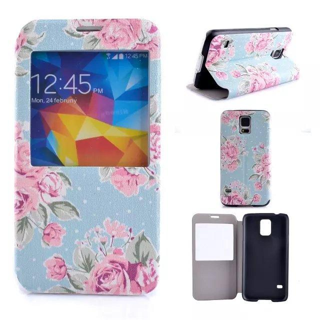 For Samsung Galaxy S4 S5 Mini S6 I9600 I9500 Caller ID Display Open Window Flower Floral Rose Flip Wallet Leather Pouches Case Stand Cover