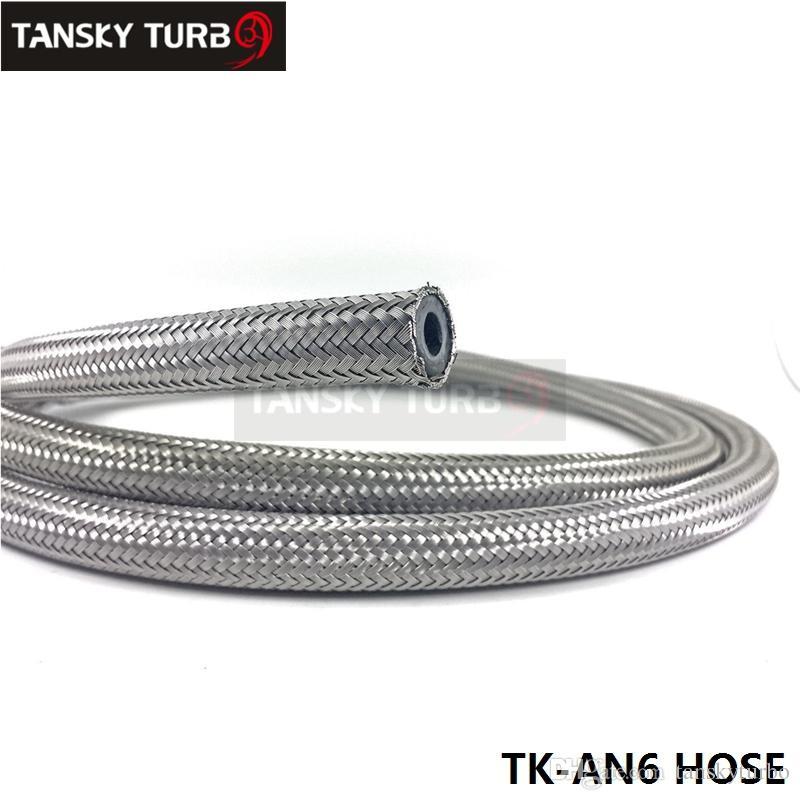 Tansky -New an6 flätat rostfritt stålgummibränsleolja oljeslang 1m 3,3ft TK-an6 slang