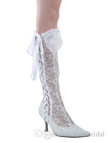 Модные острым носом 8 см высокие каблуки Sheer белые кружева красоты Пром вечернее платье женщины леди свадебные свадебные сапоги обувь