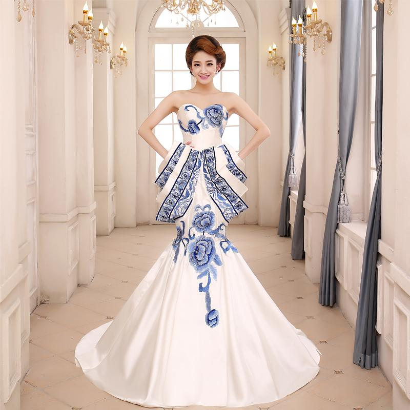 2015 Elegant Blue And White Evening Dresses Sweetheat Lace Up Mermaid Court Train Wedding Gowns With Embroidery Flowers Corset Couture