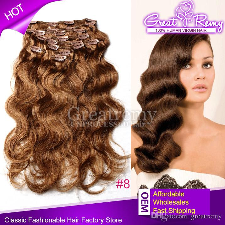 Top quality virgin clip human hair extensions 120g set 18inch 8 see larger image pmusecretfo Choice Image