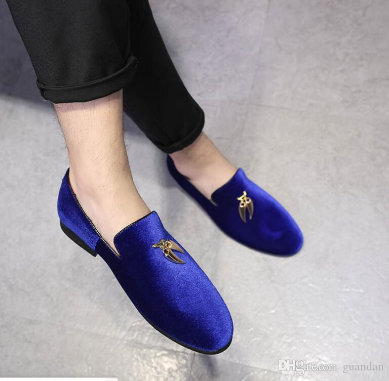 Promotion New Men pointed tassel BLue Homecoming party dress oxford wedding shoes flats loafers male moccasins DHA34