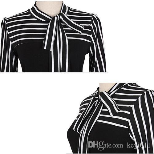 サイズS-4XL 2015ホットセールザンジーファッションOL女性レディースストライプランタンロングスリーブタートルネックシャツブラウスブラック/ホワイト