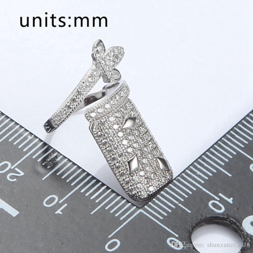 925 الفضة الاسترليني نماذج الانفجار حلقة مسمار S-3755 3756 أبيض مكعب زركونيا بالجملة