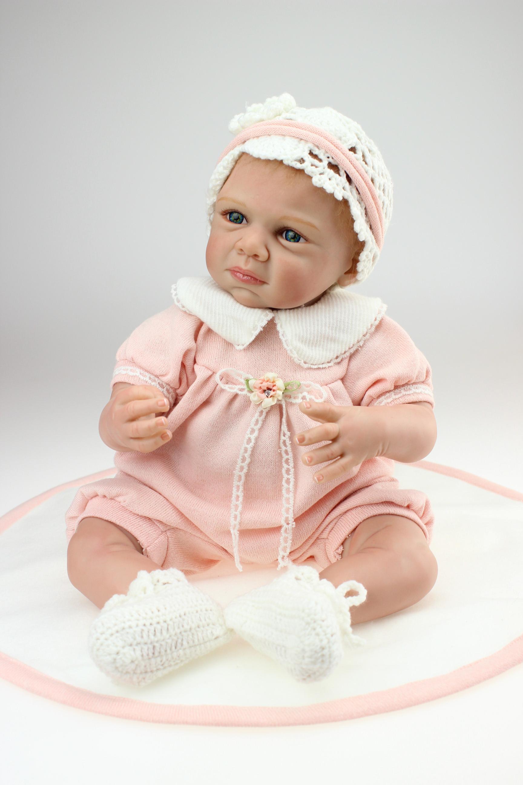 21 50cm Vinyl Silicone Reborn Baby Doll Lifelike Sad Face