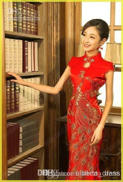 2019 Китайский стиль русалка свадебные платья рыбы хвост длинные Cheongsam невеста Cheongsam свадебное платье невесты китайская qipao длинная вечеринка