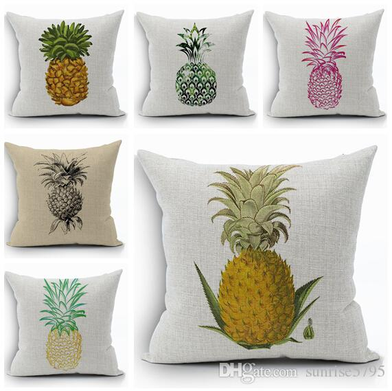 Fruit Pineapple Sofa Throw Pillow Case Creative Plant Cojines Decorative  Almofada Yellow Hot Pink Blue Cojin Home Decor Replacement Seat Cushions  For ...