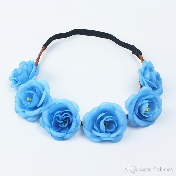 Handmade Girls Fashion Flowers Headbands Perfect Quality Wreath Crown Garland Halo For Women Wedding Festivals Accessories Floral Hair band