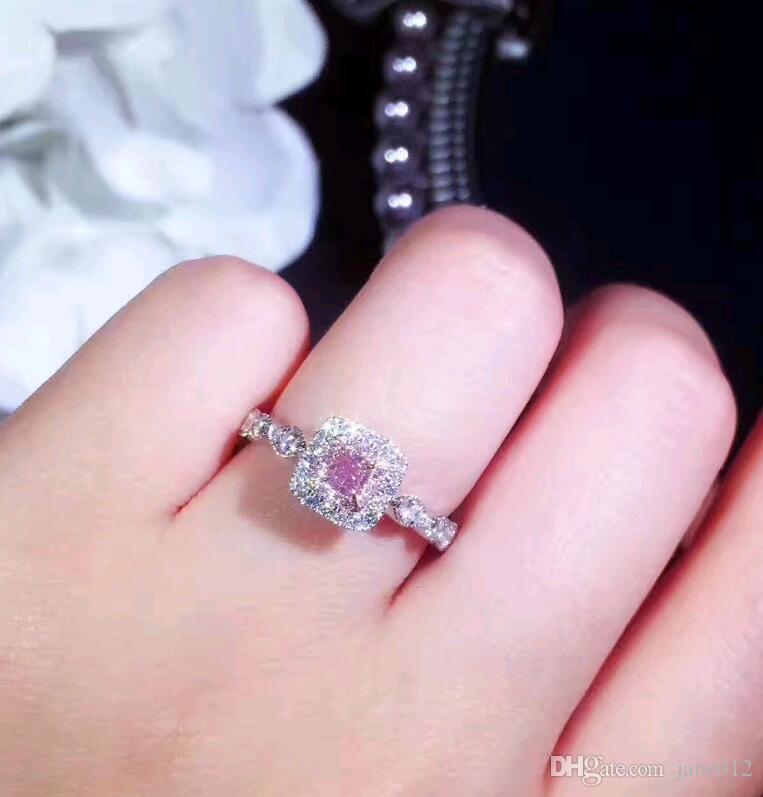 Fede nuziale quadrata rosa laterale in pietra Micro pavone a imitazione Diamante placcato oro bianco Principessa Anelli di fidanzamento donna Donna