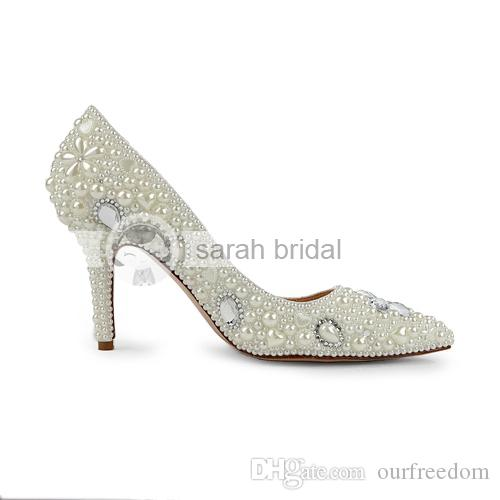 2019 Modest Wedding Shoes With Rhinestone Pearls Open Pointed Toe High Heel Custom Made Ivory Woman's Party Prom Evening Bridal Shoes MA0252