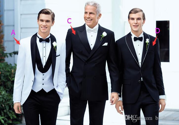 2015 New GenerousTop selling White Jacket Plus Size Black Satin Lapel Groom Tuxedos Groomsmen Best Man Suit Mens Wedding Suits