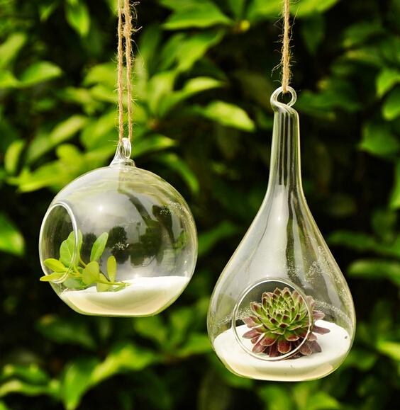 Waterdrop الزجاج المزهريات دائرة rould الكرة المزهريات أواني الزهور المزارعون الديكور ديكور المنزل الزفاف