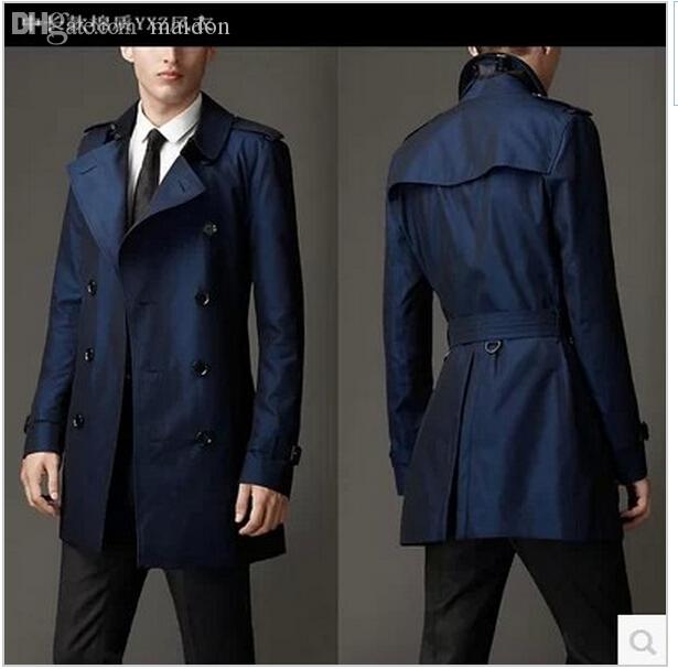 Best Fall Blue Khaki Double Breasted Long Black Trench Coat Men ...