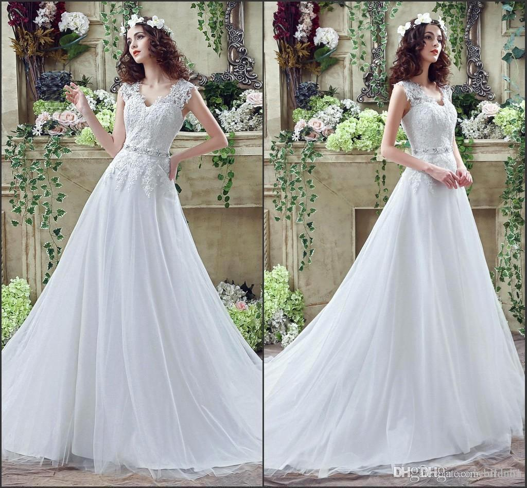 Discount 2016 Arabic New Style V Neck Lace Wedding Dresses