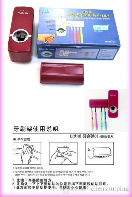 Ücretsiz Kargo Marka Yeni Diş Fırçası Tutucu + Otomatik diş macunu sıkacağı Seti Emme Standı Raf Banyo Aksesuar Duvar Montaj Tutucu