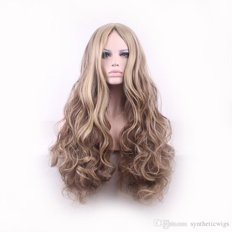 WoodFestival Long Wavy Hair Wigs Synthetic Curly Ombre Blonde Flax Color  Fiber Hair Women Heat Resistant Wig Good Quality 75cm Best Synthetic Wigs  Synthetic ... f6c2093e15